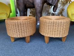 Pair of Rattan and Wood Poufs Stools Italy 1980s - 2060898
