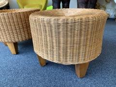 Pair of Rattan and Wood Poufs Stools Italy 1980s - 2060899