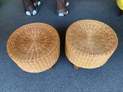 Pair of Rattan and Wood Poufs Stools Italy 1980s - 2060900