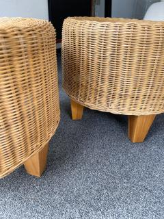 Pair of Rattan and Wood Poufs Stools Italy 1980s - 2060901