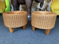 Pair of Rattan and Wood Poufs Stools Italy 1980s - 2060903