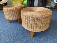 Pair of Rattan and Wood Poufs Stools Italy 1980s - 2060904