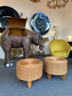 Pair of Rattan and Wood Poufs Stools Italy 1980s - 2060906