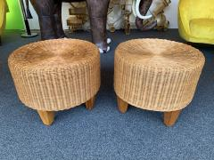Pair of Rattan and Wood Poufs Stools Italy 1980s - 2060907