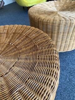 Pair of Rattan and Wood Poufs Stools Italy 1980s - 2060909