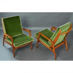 Pair of Reclining Wood Armchairs Italy 1950s - 898679