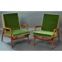 Pair of Reclining Wood Armchairs Italy 1950s - 898682