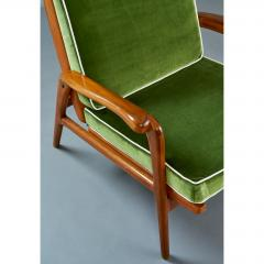 Pair of Reclining Wood Armchairs Italy 1950s - 898683