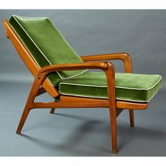 Pair of Reclining Wood Armchairs Italy 1950s - 898684