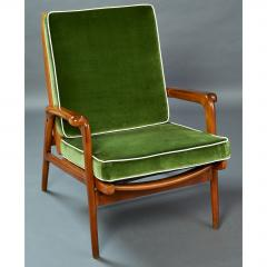 Pair of Reclining Wood Armchairs Italy 1950s - 898685