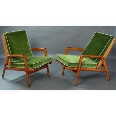 Pair of Reclining Wood Armchairs Italy 1950s - 898686
