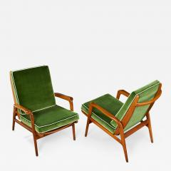 Pair of Reclining Wood Armchairs Italy 1950s - 901756