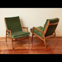 Pair of Reclining Wood Armchairs Italy 1950s - 2054539