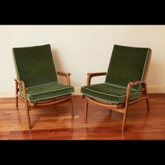 Pair of Reclining Wood Armchairs Italy 1950s - 2054540