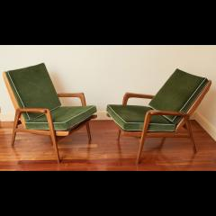 Pair of Reclining Wood Armchairs Italy 1950s - 2054542