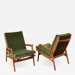 Pair of Reclining Wood Armchairs Italy 1950s - 2060144