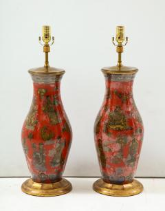 Pair of Red Chinoiserie Table Lamps - 855445