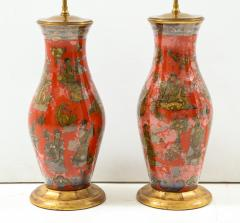 Pair of Red Chinoiserie Table Lamps - 855446