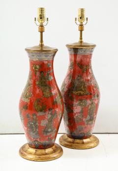 Pair of Red Chinoiserie Table Lamps - 855456