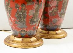 Pair of Red Chinoiserie Table Lamps - 855457