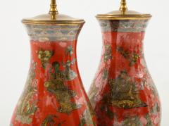 Pair of Red Chinoiserie Table Lamps - 855458