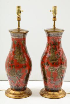 Pair of Red Chinoiserie Table Lamps - 855459