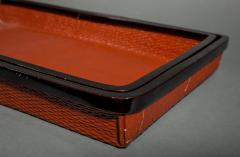 Pair of Red Japanese Lacquer Woven Nesting Trays - 338975