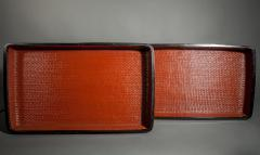 Pair of Red Japanese Lacquer Woven Nesting Trays - 338983