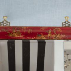 Pair of Red Lacquered Chinoiserie Mirrors - 1100011