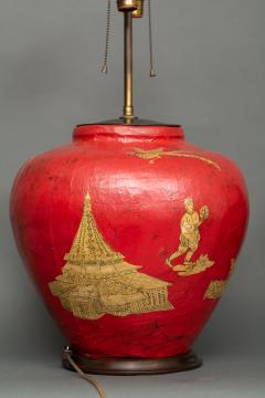 Pair of Red Papier m ch Chinoiserie Decorated Lamps - 1771256