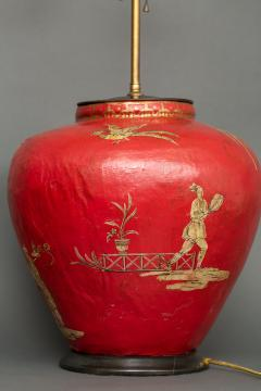 Pair of Red Papier m ch Chinoiserie Decorated Lamps - 1771258