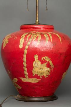 Pair of Red Papier m ch Chinoiserie Decorated Lamps - 1771259