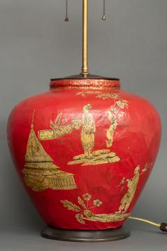 Pair of Red Papier m ch Chinoiserie Decorated Lamps - 1771260