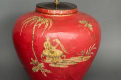 Pair of Red Papier m ch Chinoiserie Decorated Lamps - 1771261