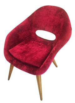 Pair of Red Velvet Armchairs in the Style of RIMA - 603116