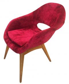 Pair of Red Velvet Armchairs in the Style of RIMA - 603117