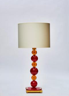 Pair of Red and Orange Murano Glass Balls Table Lamps - 1110301