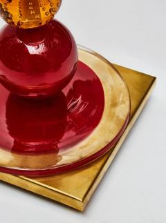 Pair of Red and Orange Murano Glass Balls Table Lamps - 1173997
