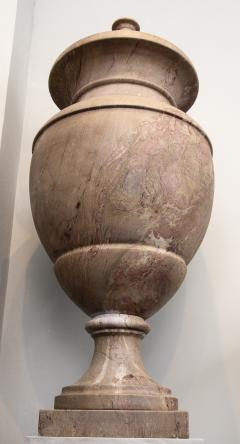 Pair of Red and Pink Marble Italian Vase in Neoclassical Style - 1964065