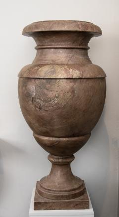 Pair of Red and Pink Marble Italian Vase in Neoclassical Style - 1964066
