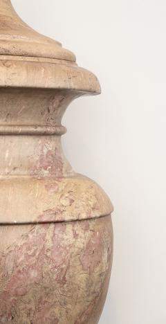 Pair of Red and Pink Marble Italian Vase in Neoclassical Style - 1964067