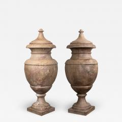 Pair of Red and Pink Marble Italian Vase in Neoclassical Style - 1966498