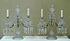 Pair of Regency 2 Light Crystal Candelabra London Circa 1800 - 1685979