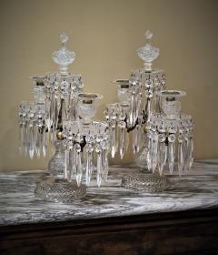 Pair of Regency 2 Light Crystal Candelabra London Circa 1800 - 1685980
