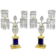 Pair of Regency Cut Glass Gilt Bronze Candelabra Attributed to Parker Perry - 1521717