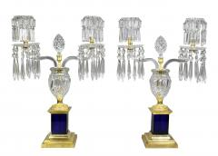 Pair of Regency Cut Glass Gilt Bronze Candelabra Attributed to Parker Perry - 1521725