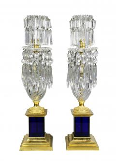 Pair of Regency Cut Glass Gilt Bronze Candelabra Attributed to Parker Perry - 1521727