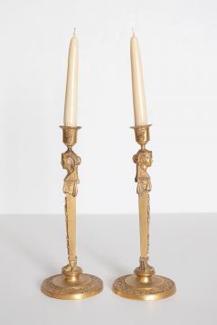 Pair of Regency Gilt Bronze Candlesticks in the Egyptian Taste - 1991461