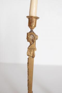 Pair of Regency Gilt Bronze Candlesticks in the Egyptian Taste - 1991462