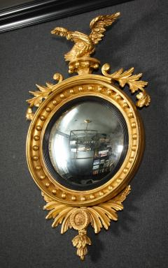 Pair of Regency Giltwood Convex Mirrors - 992273